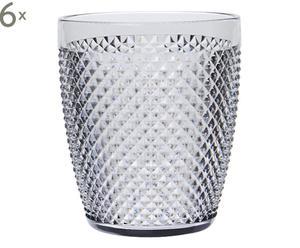 Set de 6 vasos de plástico Diamond - plata