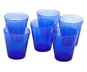 Set de 6 vasos en vidrio soplado Surf, azul - grande