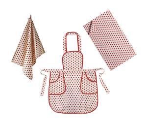 Set de delantal, mantel y paño de cocina Pois - rojo