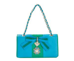 Bolso de hombro en poliéster Grain, azul y verde - 26x14x6cm