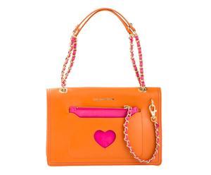 Bolso de mano con bolsillo exterior, naranja y fucsia - 28x8x18cm