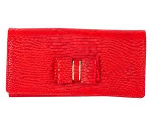 Cartera con solapa efecto piel de serpiente, rojo - 19x9 cm