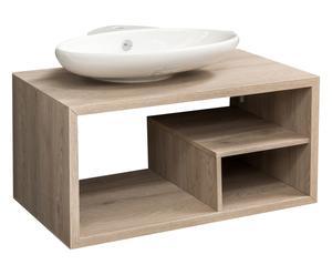 Base con lavabo e scomparto in legno Erika - 88x54x51 cm