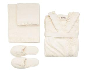 Set de viaje en algodón (2 toallas, albornoz y zapatillas) Eros, crudo - Talla L