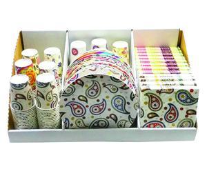 Set de vajilla y servilletas desechables de 36 piezas II - multicolor