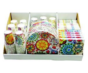 Set de vajilla y servilletas desechables de 36 piezas III - multicolor