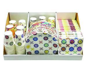 Set de vajilla y servilletas desechables de 36 piezas I - multicolor