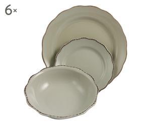 Vajilla de gres Barbara, crema - 18 piezas