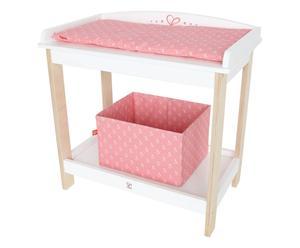 Cambiador para bebés de juguete en madera - rosa y blanco