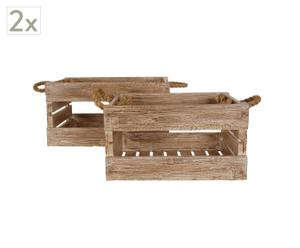 Set de 2 cajas de madera de teca reciclada