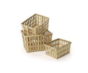 Set de 3 cestas de bambú