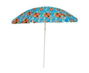 Parasol, blauwe bloemenprint