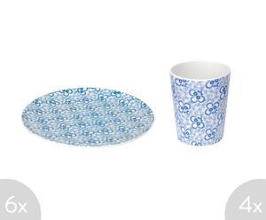 Set de 6 platos y 4 vasos de melamina - azul