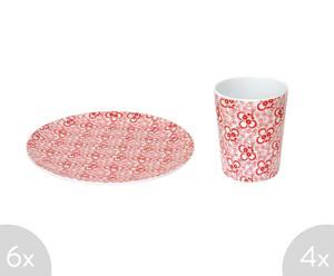 Set de 6 platos y 4 vasos de melamina - rojo