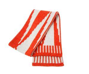 Bufanda en lana, naranja y blanco - L 180 cm