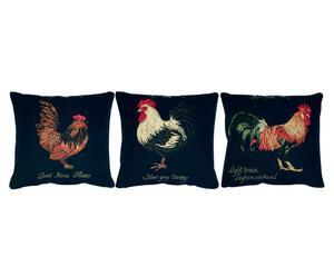 Set de 3 cojines algodón y poliamida Gallos – 33x33