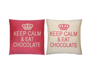 Set de 2 cojines Keep Calm & Eat Chocolate, crema y rosa – 45x45