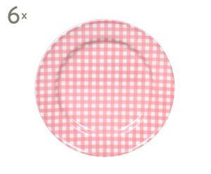Set de 6 platos Sarah, rosa - Ø17