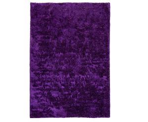 Alfombra tejida a mano en poliéster y algodón, berenjena - 140x200
