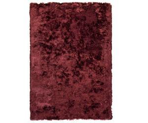 Alfombra tejida a mano en poliéster y algodón, burdeos – 70x140