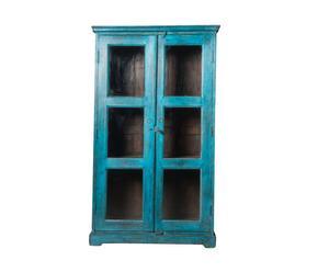 Vitrina en madera y vidrio - azul