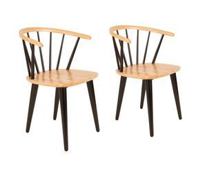 Set van 2 stoelen Jappe, naturel/zwart, H 76 cm