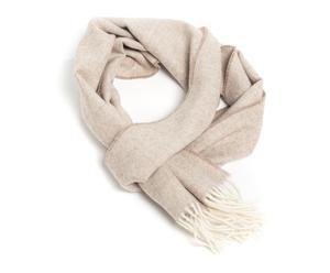 Bufanda de alpaca Warm, beige y blanco – 30x180cm