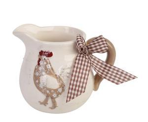 Jarra de cerámica Country Chic - blanco y marrón