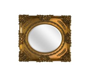 Espejo de madera de acacia, oval dentro rectángulo - dorado