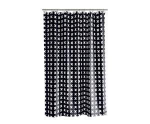 Cortina de ducha de poliéster Stitches, negro – 180x200 cm
