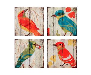 Set de 4 cuadros de madera - Pájaros
