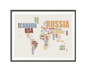 Lámina mapamundi tipográfico