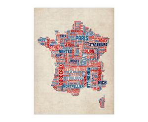 Lámina mapa de Francia ciudades