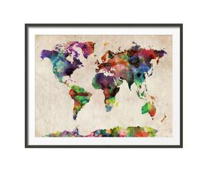 Lámina mapamundi acuarelas color