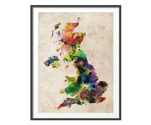 Lámina mapa Gran Bretaña acuarelas color