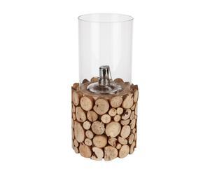 Lampe à huile rondins, Bois et verre - H31