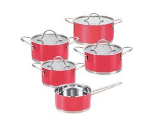 4 Faitouts et 1 casserole, inox - rouge