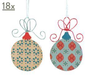 36 Décorations de Noël Bois, Multicolore - Ø10