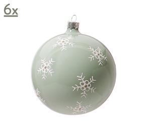 6 Boules de Noël Flocons Verre soufflé, Vert d'eau - Ø10