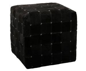 Pouf cuir, Noir - H40
