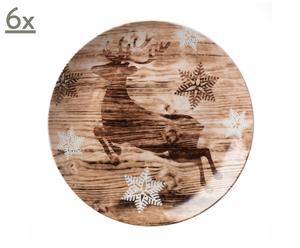 6 Assiettes à dessert Noël, porcelaine - Ø23