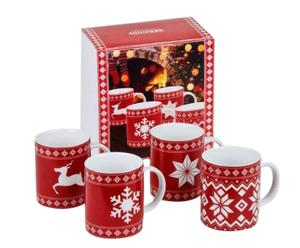 4 Mugs Noël, porcelaine - 320 mL