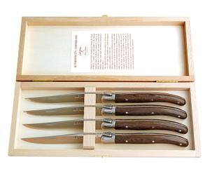 4 Couteaux Laguiole inox, Marron foncé et argenté - L23
