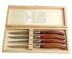 4 Couteaux Laguiole inox, Marron et argenté - L23