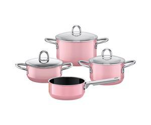 Faitouts avec couvercles et casserole, inox - rose