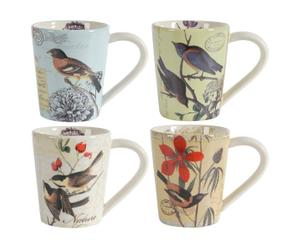 4 Tasses Porcelaine, Multicolore - Ø13