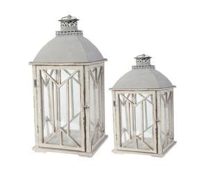 2 Lanternes, Bois et métal - Blanc