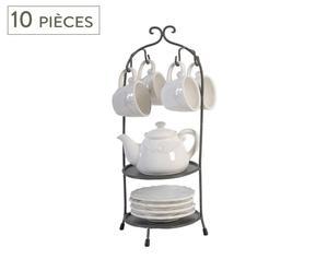 Service à thé Métal et porcelaine, Blanc et noir - Ø18