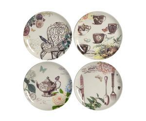 4 Assiettes Porcelaine, Multicolore - Ø21