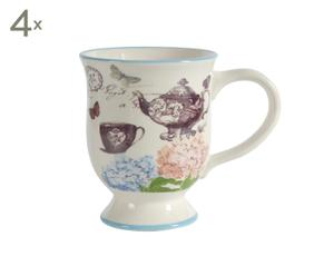 4 Mugs Porcelaine, Multicolore - L15